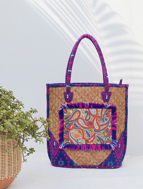 Multicolored Handcrafted Beaded Straw Jacquard Tote Bag
