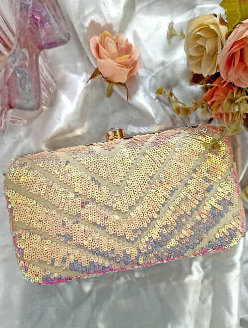 Pink Handcrafted Sequinned Silk Clutch