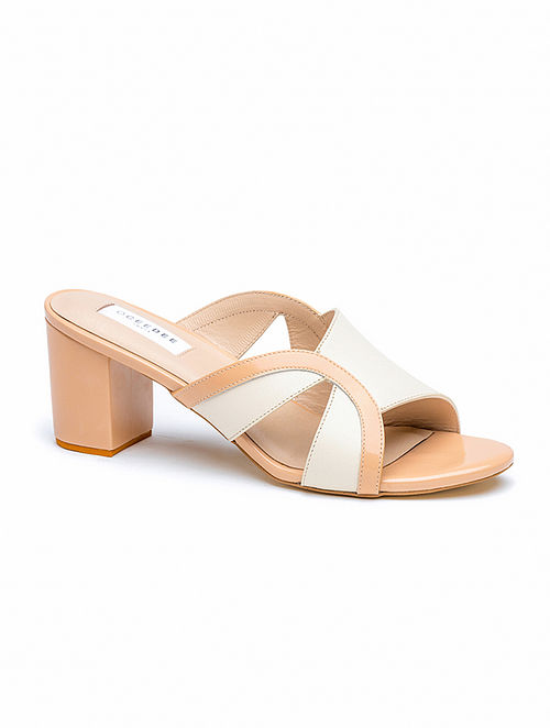 Ivory Pink Handcrafted Genuine Leather Block Heels