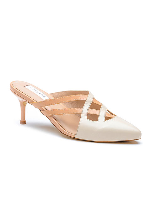 Ivory Pink Handcrafted Genuine Leather Pencil Heels