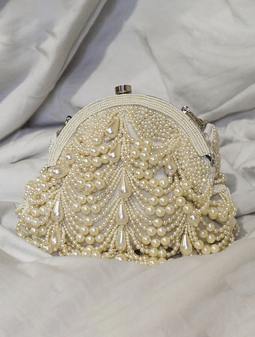 White Handcrafted Beaded Velvet Clutch
