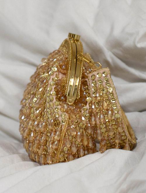 Gold Handcrafted Beaded Velvet Clutch