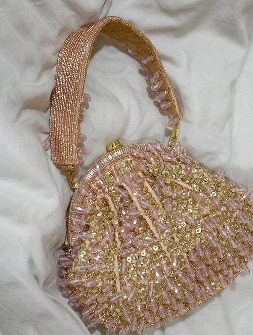 Pink Handcrafted Beaded Velvet Clutch