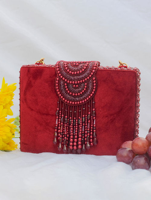 Red Handcrafted Beaded Suede Clutch