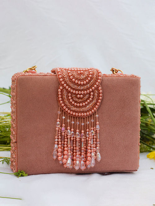 Pink Handcrafted Beaded Suede Clutch