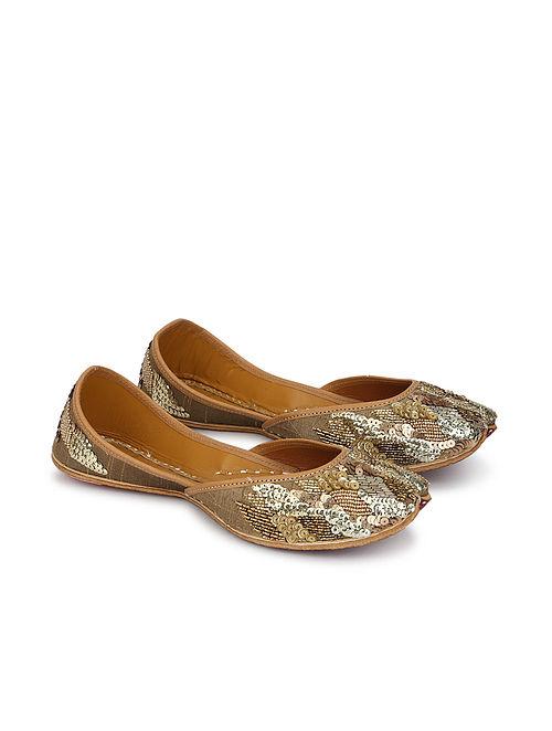 Gold Handcrafted Embellished Dupion Silk Leather Juttis