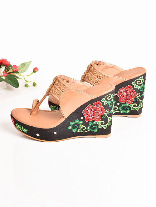 Nude Hand Embroidered Faux Leather Kolhapuri Wedges