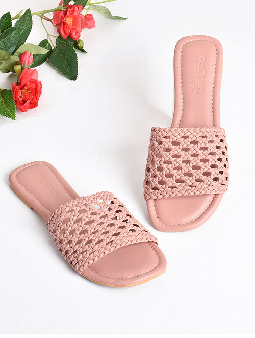 Pink Handcrafted Faux Leather Flats