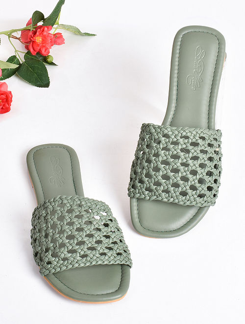 Olive Green Handcrafted Faux Leather Flats