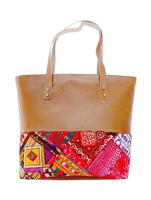 Multicolored Handcrafted Vintage Banjara Leather Tote Bag