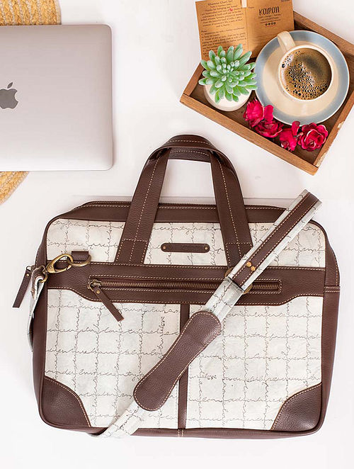 White Handcrafted Cotton Canvas Leather Laptop Bag