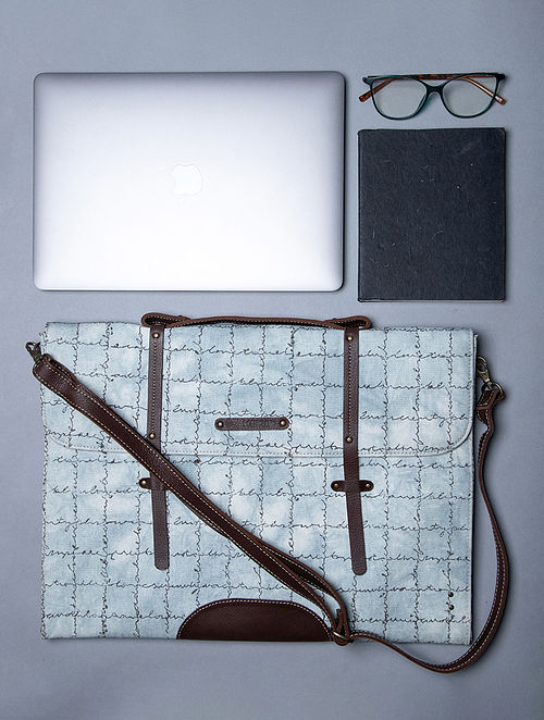 White Handcrafted Canvas Cotton Leather Laptop Bag