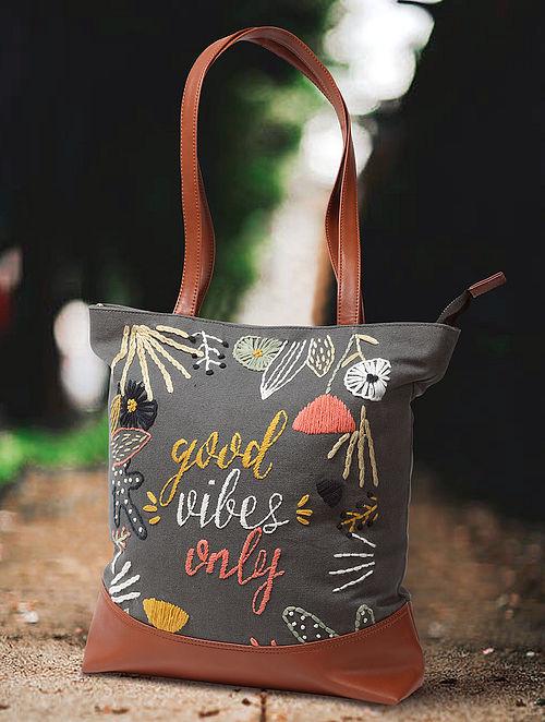 Dark Grey Hand Embroidered Canvas Cotton Tote Bag