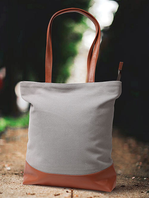 Light Grey Handcrafted Canvas Cotton Tote Bag