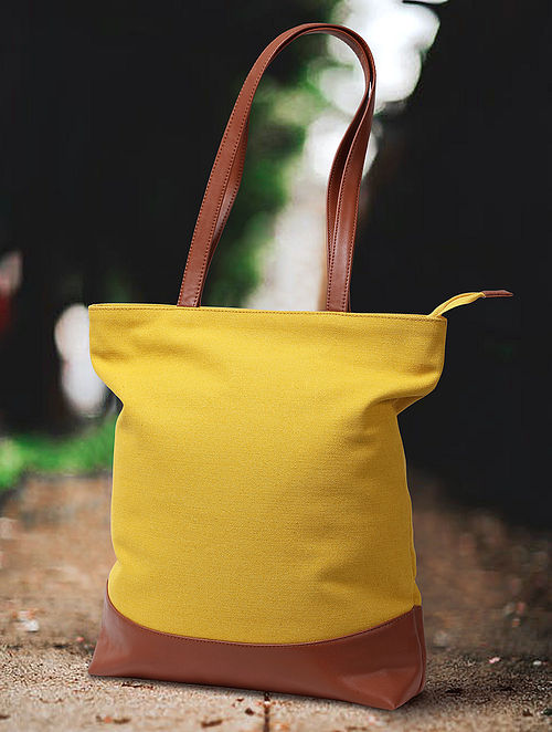 Lemon Yellow Handcrafted Canvas Cotton Tote Bag