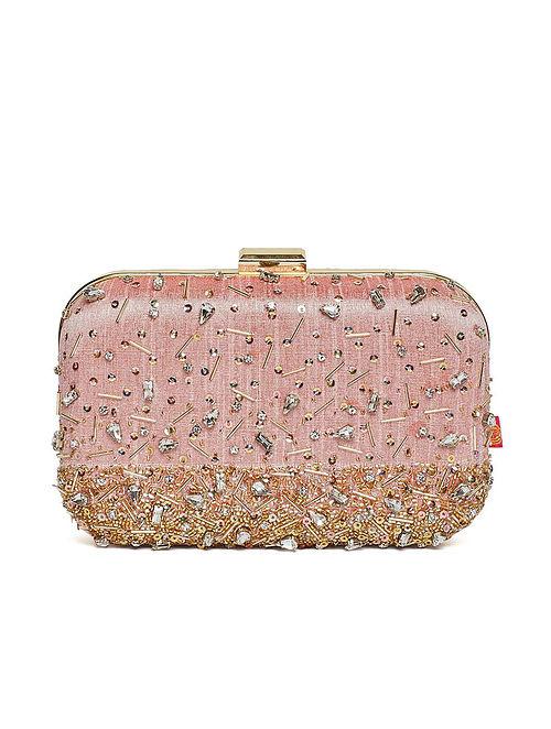 Blush Pink Hand Embroidered Dupion Silk Clutch