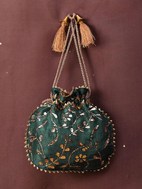 Emerald Green Handcrafted Mukaish Silk Potli