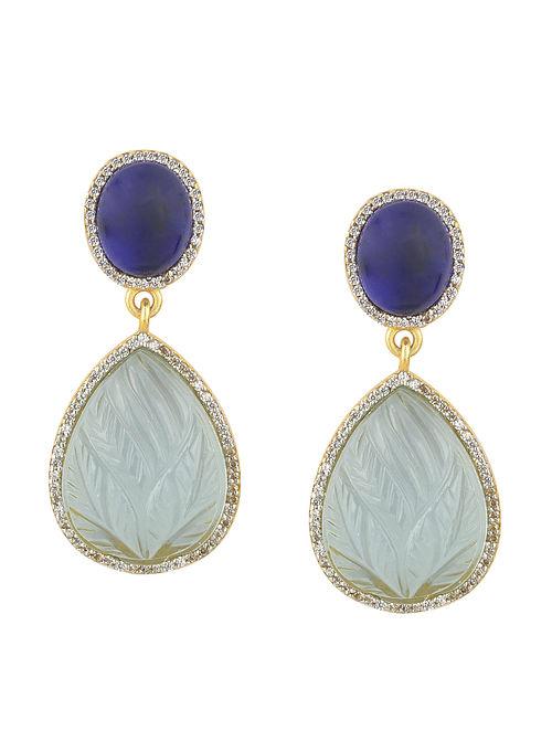 Blue Carved Drop Earrings