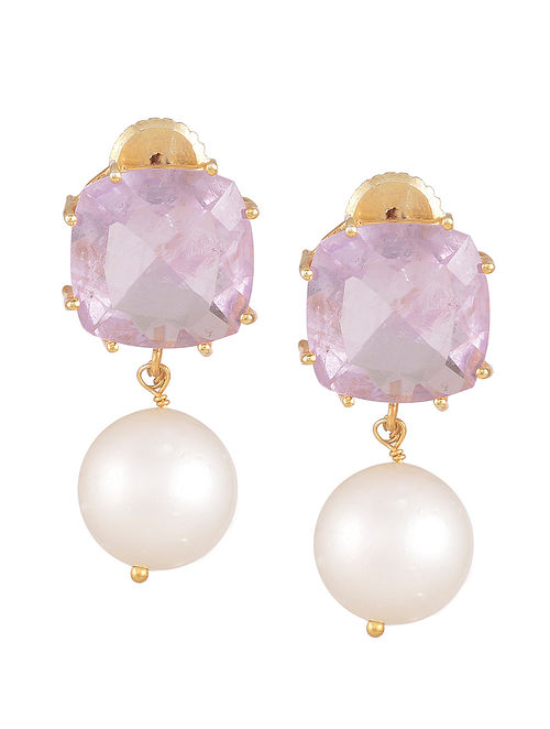 Amethyst Pearl Drop Earrings