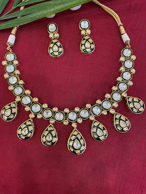 Green Gold Tone Kundan Enameled Necklace With Earrings