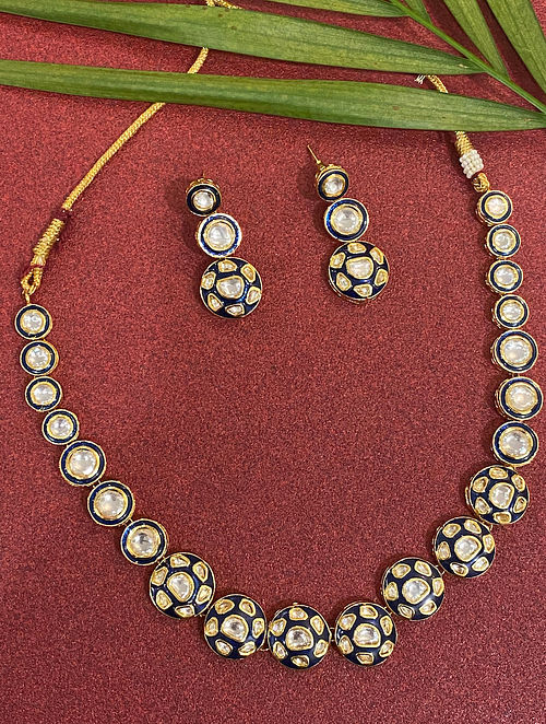 Blue Gold Tone Kundan Enameled Necklace With Earrings