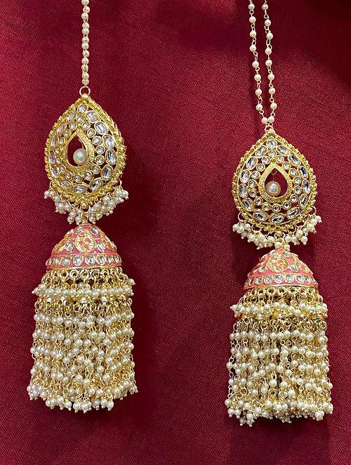 Pink Gold Tone Kundan Enameled Jhumki Earrings with Ear Chains