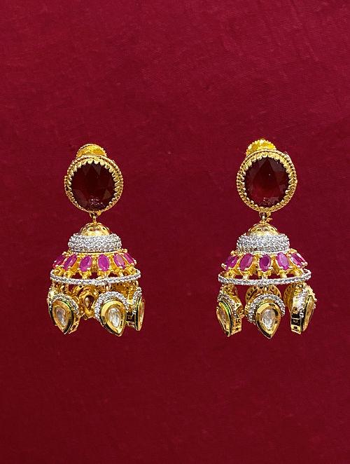 Red Dual Tone Kundan Jhumki Earrings