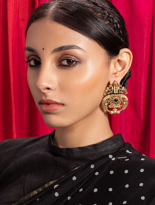 Green Red Gold Tone Temple Earrings