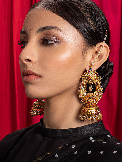 Red Green Gold Tone Temple Jhumki Earrings with Ear Chains