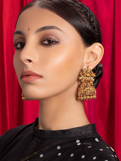 Red Green Gold Tone Temple Jhumki Earrings