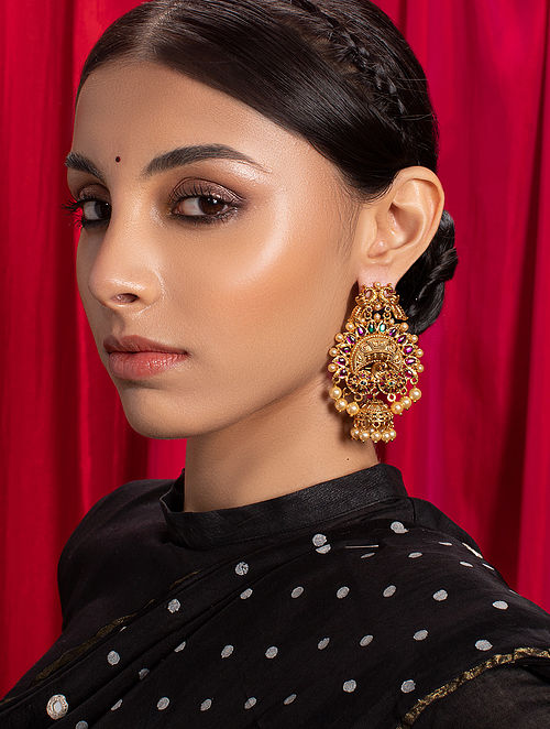 Red Green Gold Tone Temple Earrings With Pearls