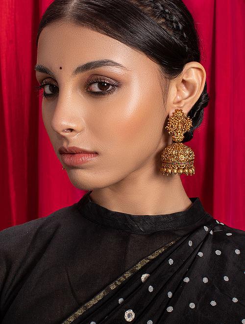 Gold Tone Temple Jhumki Earrings