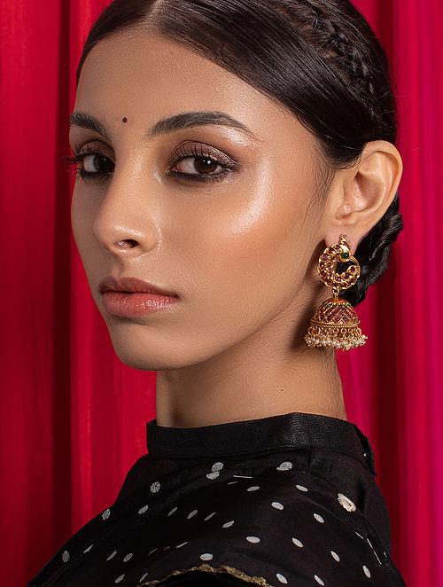 Red Gold Tone Temple Jhumki Earrings