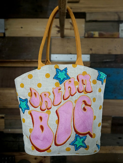 Multicolored Embroidered Jute Tote Bag
