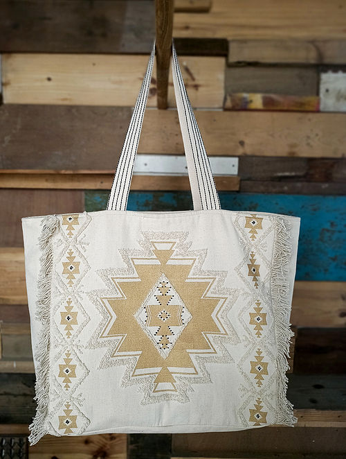 Beige Handcrafted Cotton Tote Bag