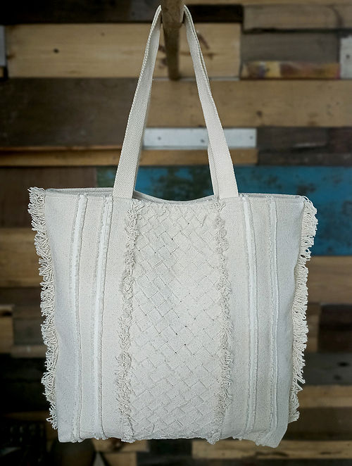 White Handcrafted Cotton Tote Bag
