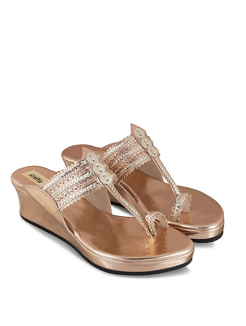 Rose Gold Handcrafted Faux Leather Kolhapuri Wedges