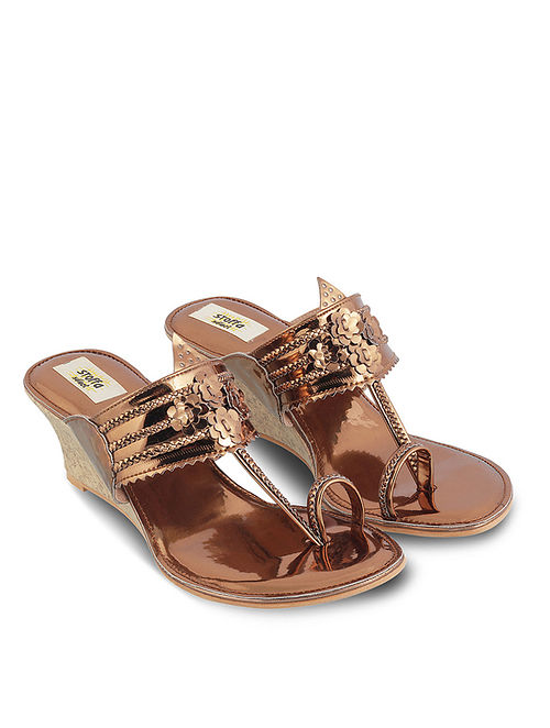 Copper Handcrafted Faux Leather Kolhapuri Wedges