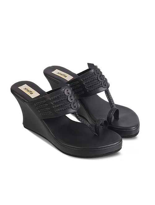 Black Handcrafted Faux Leather Kolhapuri Wedges