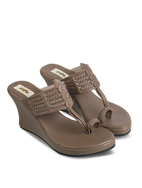 Caramel Brown Handcrafted Faux Leather Kolhapuri Wedges