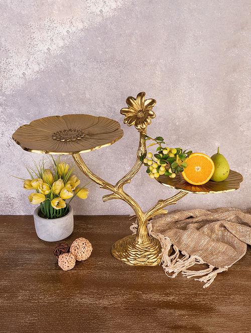 Golden Handcrafted Metal Platter (L - 20.5in, W - 10in, H - 17in)