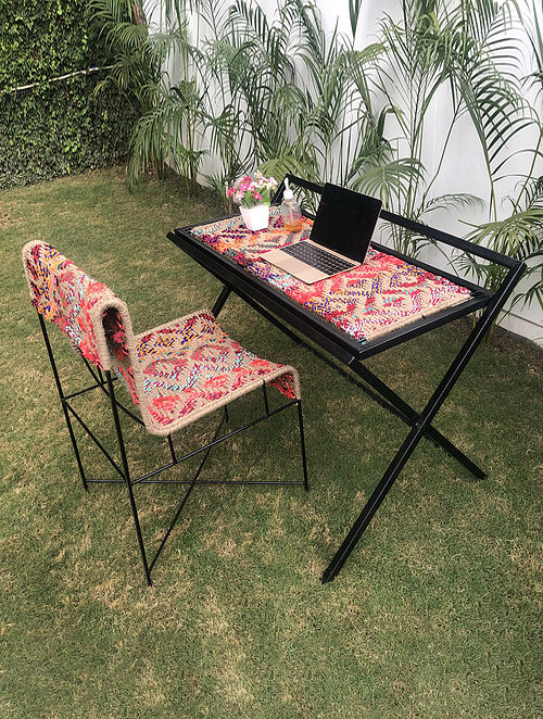 Work From Home Multicolor Handcrafted Waste Textile and Natural Jute Fiber and Metal Frame Table and Chair (Set of 2)