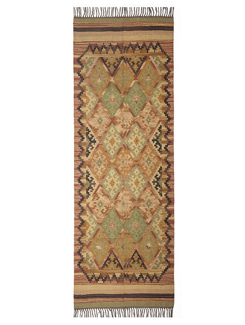 Multicolour Wool Jute Rug (2.3ft x 8ft)
