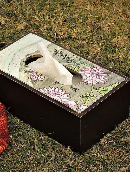 Multicolored Wooden Bahaar Dahelia Tissue Box(L-10in, W-5in, H-4in)