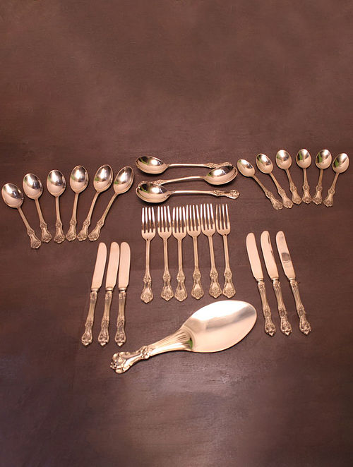 Ayas Brass Rustic Cutlery (Set of 28 pieces)