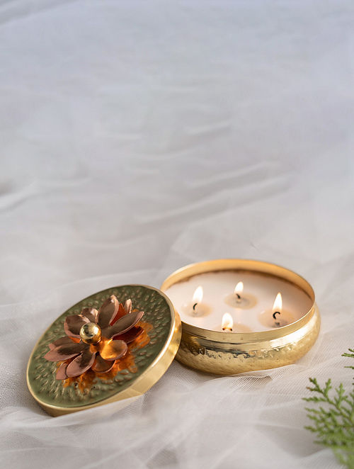 Gold Multi-Wick Tart Scented Candle - Mocha Coffee (D- 4in, H- 2in)