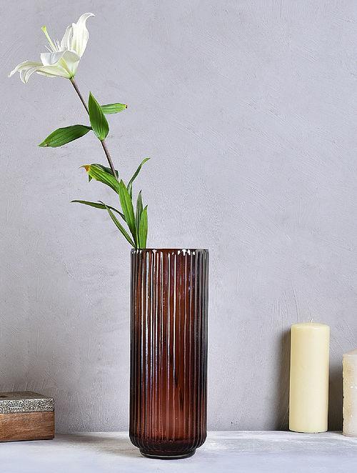 Brown Long Striped Glass Vase (D-5in, H-14in)