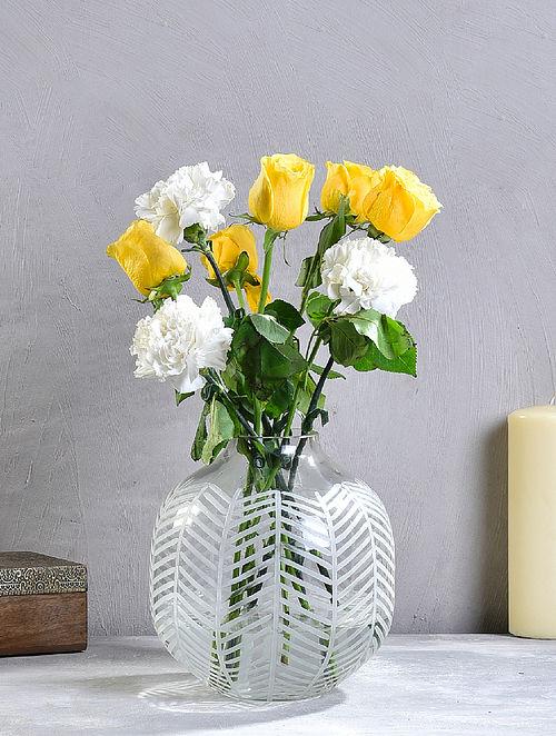 Clear Leaf Cut Glass Vase (D-8in, H-8in)