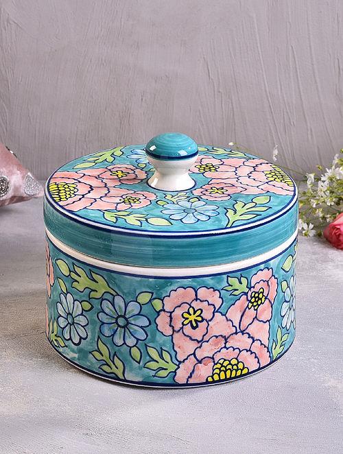 Multicolored Ceramic Multipurpose Handcrafted Ceramic Jar (D-7.5in, H-6in)