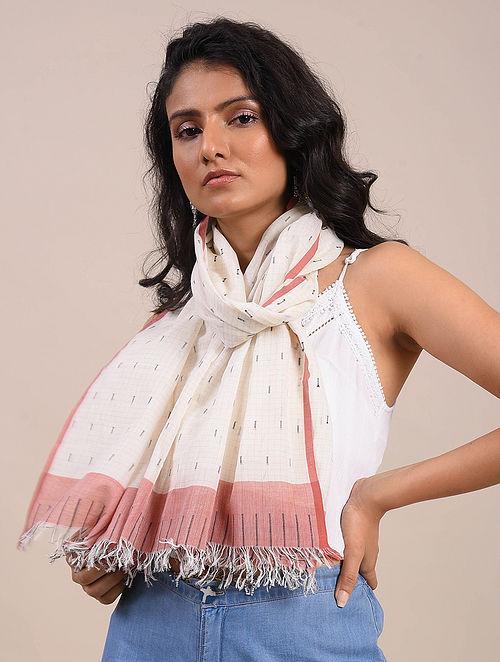 White-Orange Jamdani Cotton Scarf